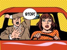 在开车的人海报漫画风格人物矢量素材