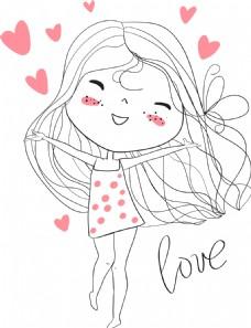 简笔画可爱的小女生插画