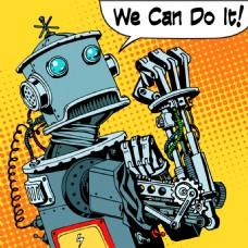 机器人卡通海报漫画风格人物矢量素材