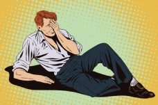 躺在地上的男人漫画风格人物矢量素材