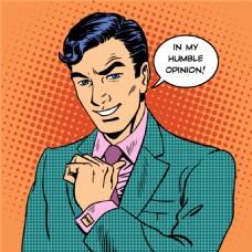 蓝发帅哥卡通海报漫画风格人物矢量素材