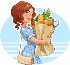 购物的妈妈插画
