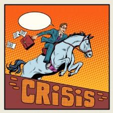 骑着马的人海报漫画风格人物矢量素材