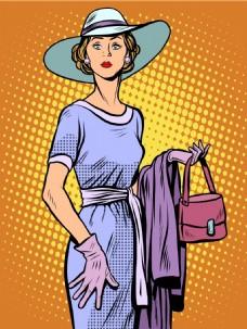 穿着裙子的女人卡通海报漫画风格人物矢量