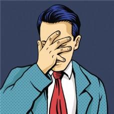 遮脸欧美卡通海报漫画风格人物矢量素材