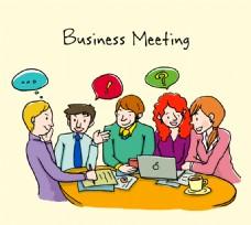 创意商务会议人物矢量