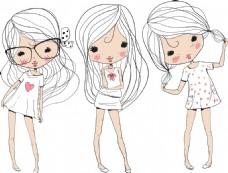 手绘三个可爱的小女生插画