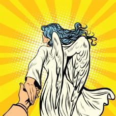 天使欧美卡通海报漫画风格人物矢量素材