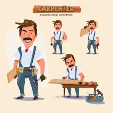 卡通木工人物插画