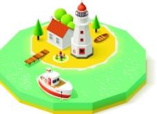 美丽的小岛风景插画