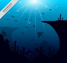 创意深海海底风景矢量