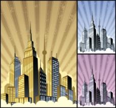 城市风景欧美卡通海报漫画风格人物矢量素材