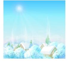 浪漫冬天雪景插画