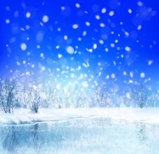 漫天飞舞的雪花风景