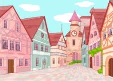 彩色的童话小镇建筑插画