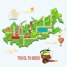特色旅行地图插画