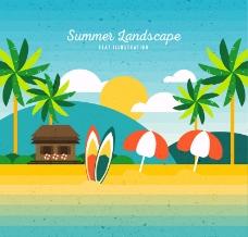 夏季度假沙滩风景矢量