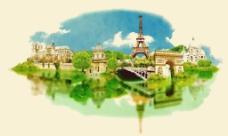 水彩绘法国建筑插画