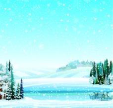 冬天雪景风景插画