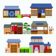 街道扁平化中国古代建筑房屋矢量素材(