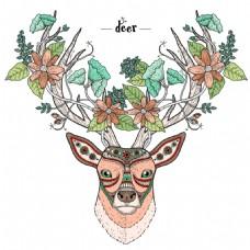 鹿插画创意动物头像矢量素材