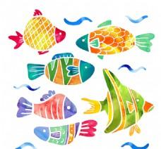 6款彩绘花纹鱼类矢量