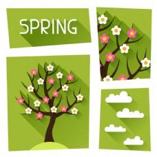 春天开满花朵的大树