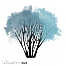 冬天小树场景矢量素材