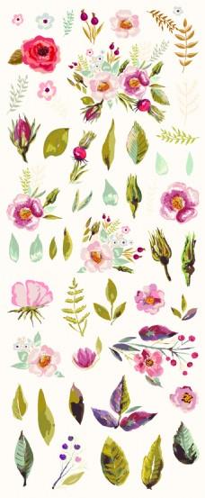 水彩绘时尚花朵插画