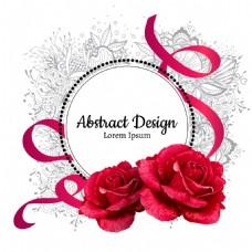 浪漫红色玫瑰花和丝带插画