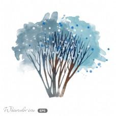 蓝色水彩夜晚冬日场景矢量素材