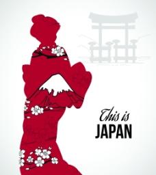 日本女人剪影日式和风矢量背景