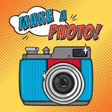 照相机欧美卡通海报漫画风格人物矢量素材