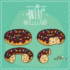 卡通巧克力甜甜圈矢量插画