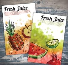 2款水彩绘果汁海报矢量