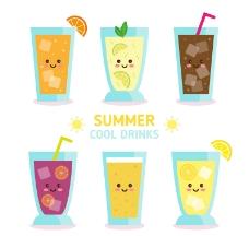 6款可爱夏季饮品设计矢量