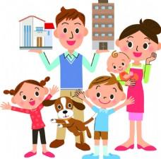家人家庭房产扁平化矢量素材