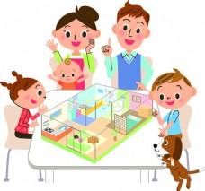 商业插画家庭房产扁平化矢量素材