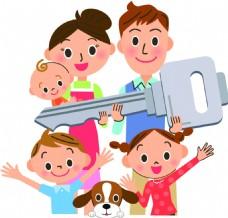 卡通家人家庭房产扁平化矢量素材