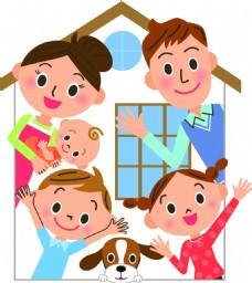 卡通住宅家庭房产扁平化矢量素材