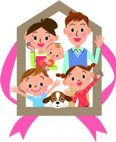 卡通一家人家庭房产矢量素材