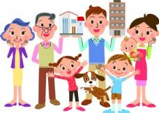 儿童家庭房产扁平化矢量素材