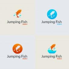 跳跃鱼矢量标识
