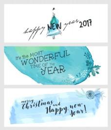 水彩手绘蓝色圣诞新年横幅海报矢量