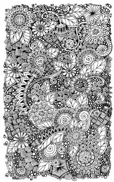 黑白手绘植物涂鸦背景