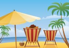 沙滩椅度假矢量素材