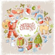 圆形背景卡通圣诞节矢量背景元素