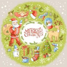 圣诞树环卡通圣诞节矢量背景元素