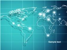 蓝色地图全球化网络抽象矢量背景
