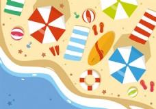 夏天黄色沙滩旅游度假素材